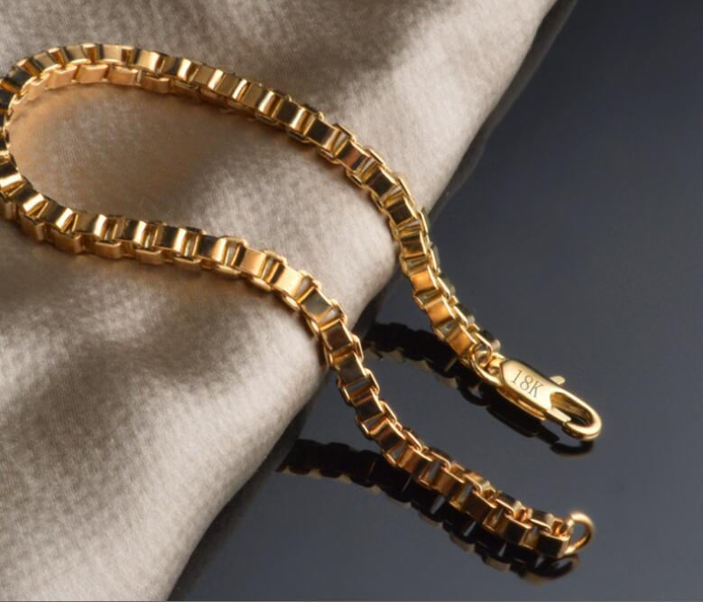 wholesale freeshipping 6pcs lot 20cm 4MM fashion jewelry 18k gold box chain bracelets chain gift for women 2016 new high quality hot sell