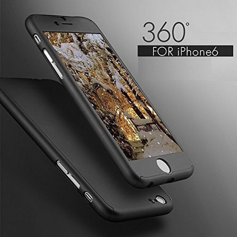 Luxe I6 I6S I7 Plus Etui À Couverture Totale De 360 degrés Pour IPhone 6 6S 7 Plus Avec Couvercle De Protection En Verre Trempé Gratuit Capa Coque ...