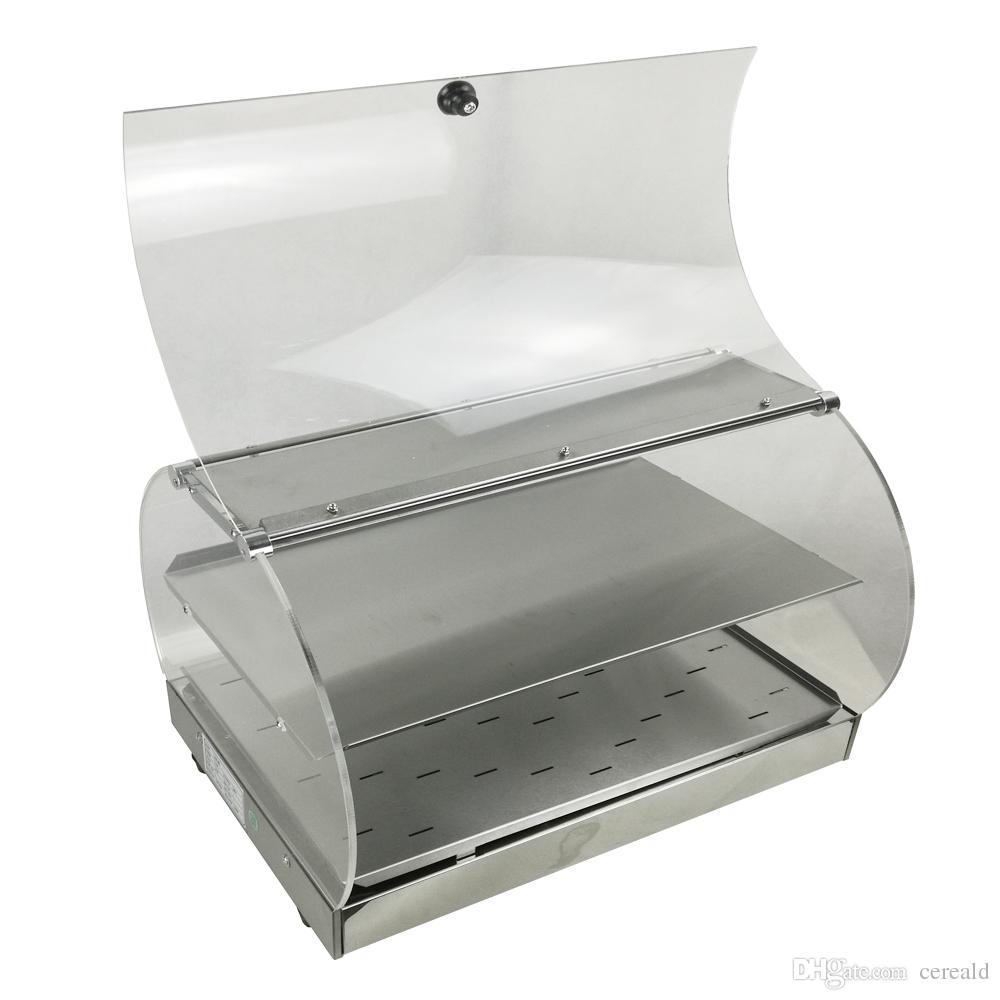 Mostrador eléctrico de exhibición comercial del calentador de alimentos del vidrio de PMMA de la encimera