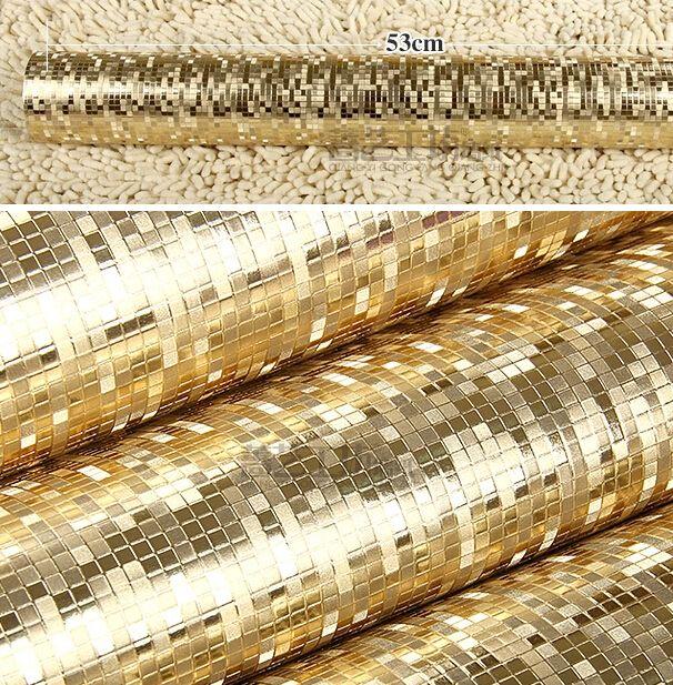 Wholesale- Luxury Plain Gold Wallpaper Roll Texture Mosaic Waterproof PVC Reflective Glitter Paper golden wedding wall coverings