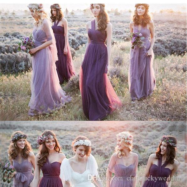 Long Tulle Bridesmaid Convertible Dresses Floor Length 2017 Wedding Guest Dress Bridesmaid Prom Gowns Zipper Back Custom Made Cheap