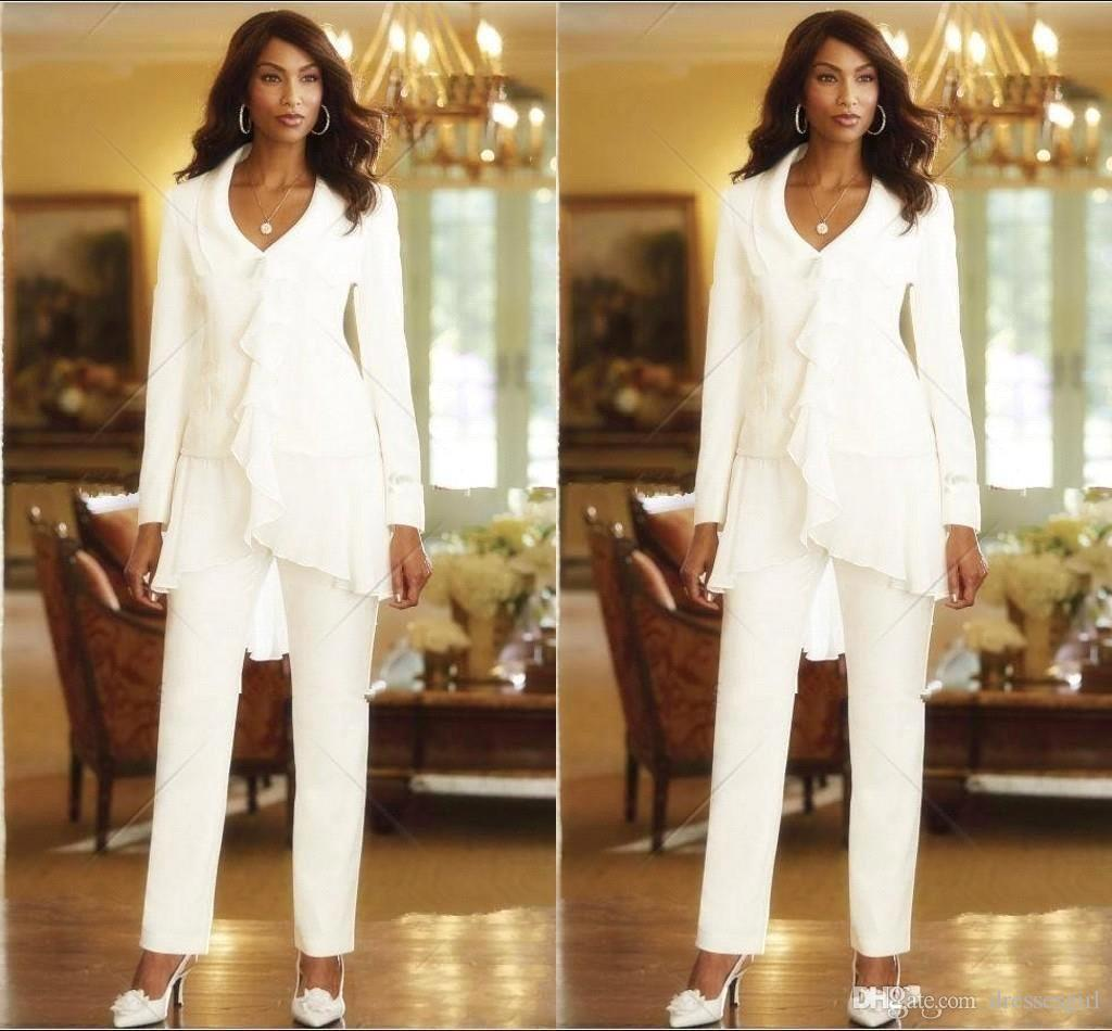 Elegant Long Sleeves Mother Of The Bride Pant Suits Chiffon Three Pieces Plus Size Mother Formal Evening Gowns