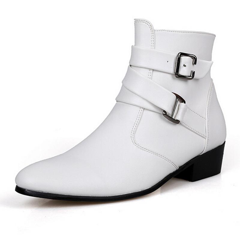 새로운 봄 겨울 남자 정품 가죽 플랫 부츠 패션 발가락 발목 부츠 남성 캐주얼 신발 Zapatos Sapatas Botas Masculinas 2A