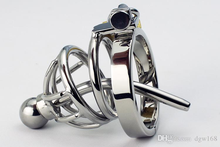 Stainless Lock Cage Removable Male Chastity Cock Slave Sex Device Penis Sounding Anti-Erection Penis Catheter Steel Urethral Rings With Joci