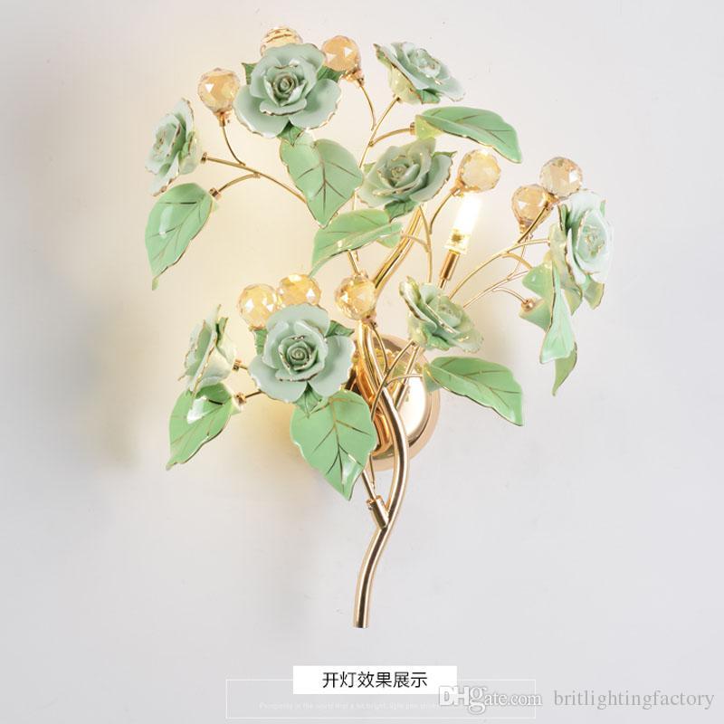 Die goldene LED europäischen Luxus moderne Wohnzimmer Schlafzimmer Nachttischlampe Wandleuchte Gang Treppe Kristall Lampen kreative LED Lesen Wandleuchte