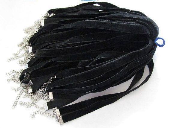 Ayarlanabilir 10mm Düz Siyah Kadife kolye Kordon Dize Halat, DIY Boncuk Cord 14inches