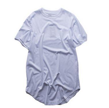 Wholesales Высокое качество West Extended T-Shirt Men Summer Изогнутые Хем Ярус Hip Hop Tshirts Urban Blank Мужские футболки