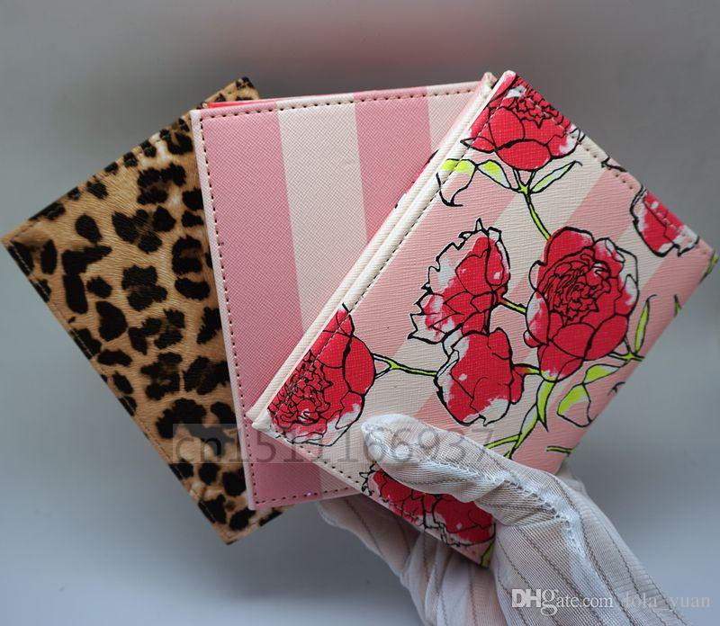 Moda Pink stripe pasaporte de viaje de alta calidad titular de la tarjeta de identificación de la cubierta bolsa de pasaporte funda protectora de almacenamiento de la mujer bolso VIP regalo 23 colores