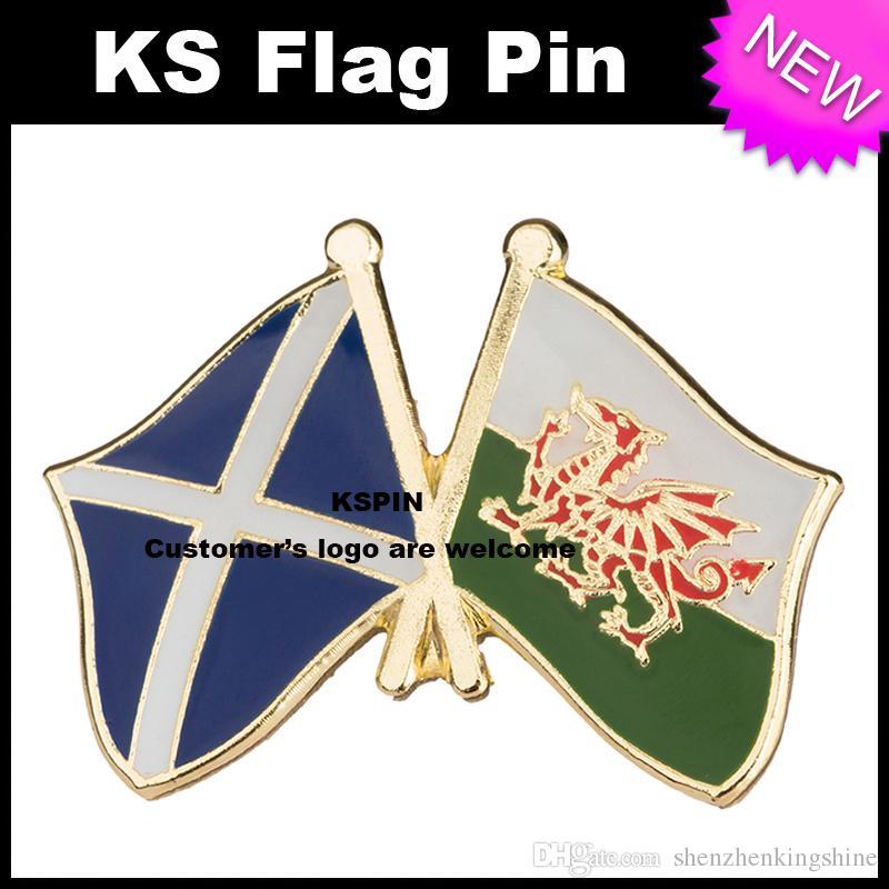 Pin 10pcs della bandiera del distintivo della bandierina della Scozia Galles molto trasporto libero XY0050