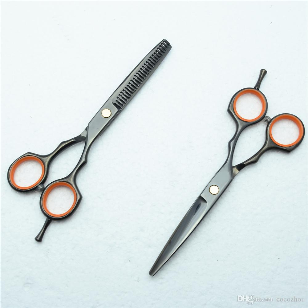 C1004 5.5'' Customized Brand Black Hairdressing Scissors Factory Price Cutting Scissors Thinning Shears professional Human Hair Scissors