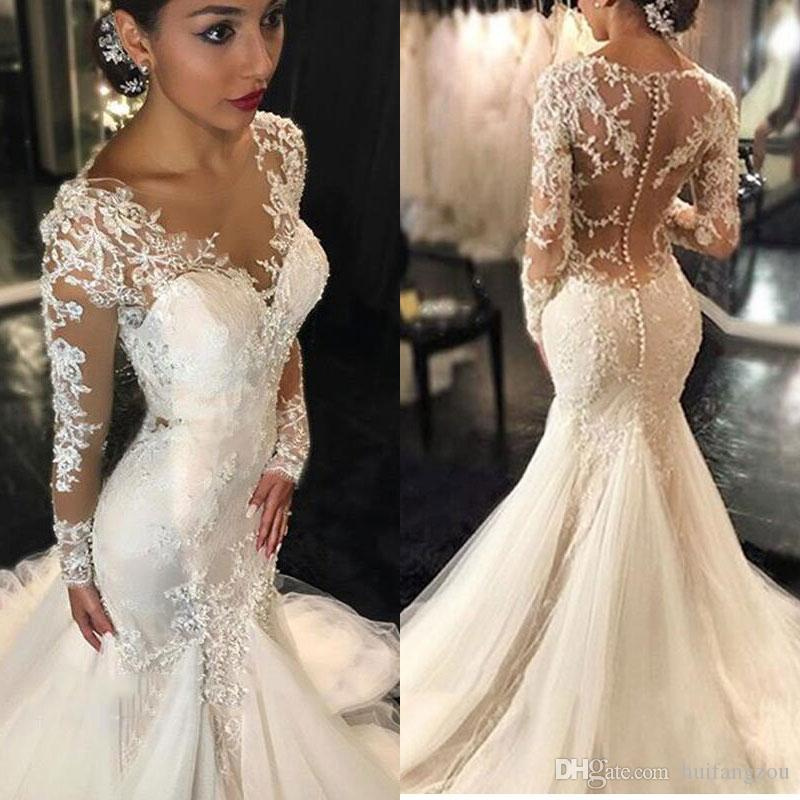 2019 Vintage Mermaid Wedding Dresses Long Sleeves Lace Appliques Beaded  Wedding Gowns Sweep Train Jewel Bridal Gowns Bridal Wedding Couture Wedding