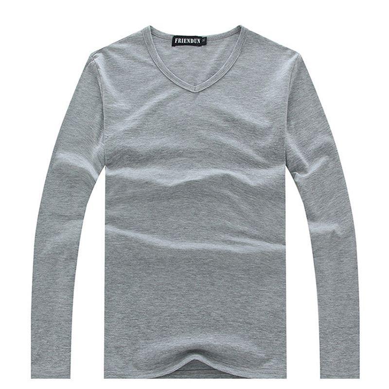 Homens Roupas Plus Size S-XXXL T-shirt Dos Homens de Algodão Casuais tshirt Sólida Camisa de Manga Longa Homens V neck Tops Tees