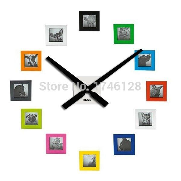 Wholesale- 60CM Metal Wall Clock DIY Photo Frame Clock Living Room Decoration Quartz Mechanism Horloge