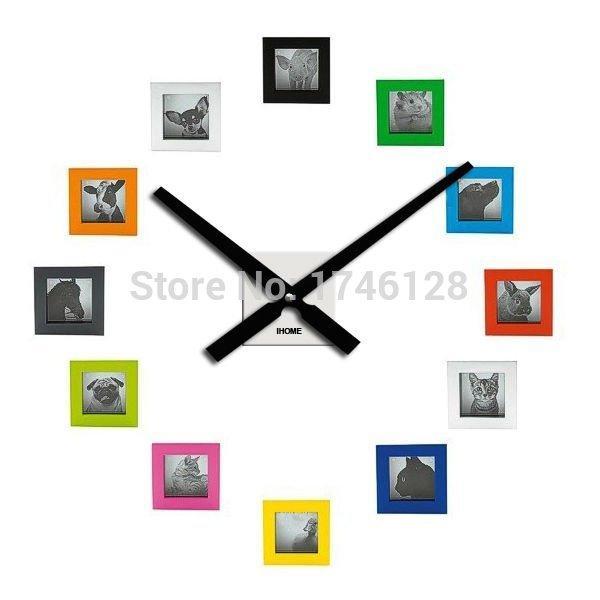 الجملة -60 سنتيمتر المعادن ساعة الحائط diy إطار الصورة ساعة غرفة المعيشة الديكور آلية الكوارتز ووتش