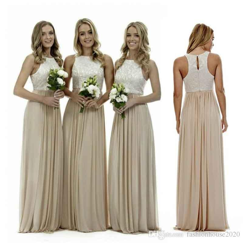 Sexy Long Champagne Chiffon Bridesmaid Dresses Lace Beach Bridesmaids Dress Plus Size Wedding Guest Gowns Country Maid of Honor Dress