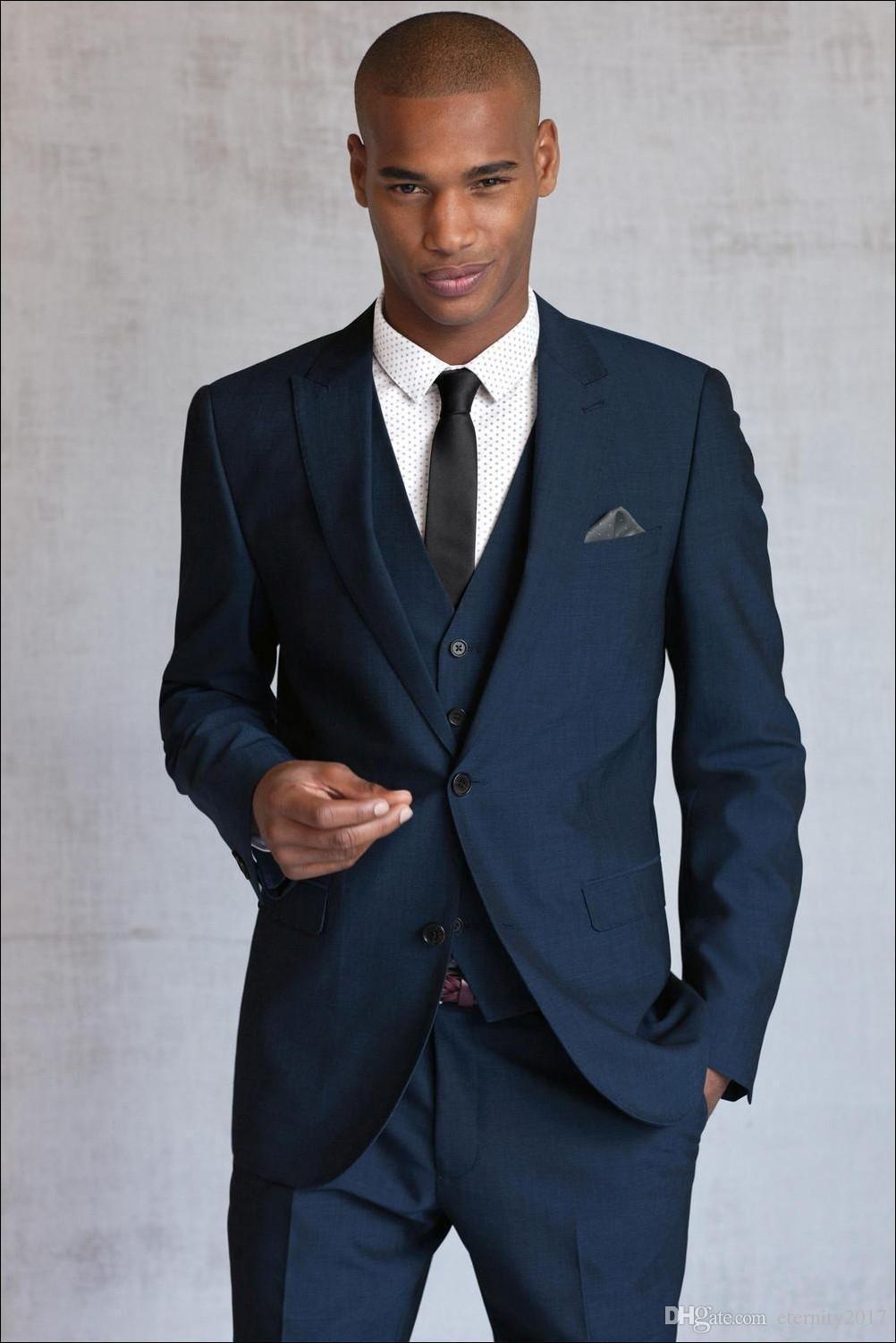 2017 Blue Wedding Suits For Men 3 Pieces Men Suits Men Tuxedos ...