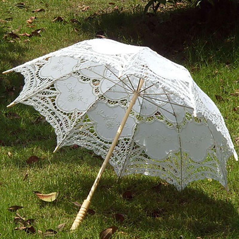 Lace Cotton di New Ivory ricamo Wedding ombrellone Parasol accessori