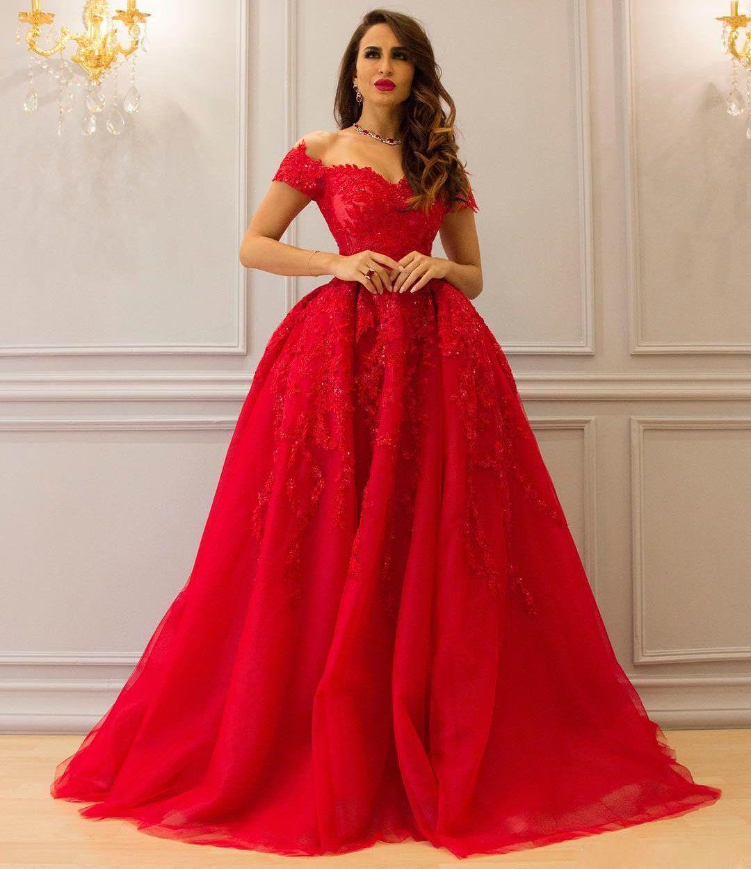 Großhandel Rot 8 Ballkleid Spitze Abendkleider Applikationen Perlen  Schulterfrei Ausschnitt Abendkleid Bodenlangen Lange Formale Abendkleider  Von