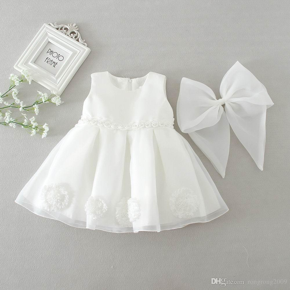 Розничная девочки Детские платья Лето большой лук партия первый день рождения свадьба платье принцессы платье Детская одежда 2050BB