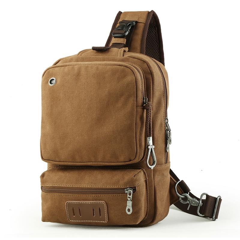 Men Chest Pack Single Shoulder Strap Back Bags Nylon Backpack Travel Men Crossbody Bags Vintage Oblique Back Pack Women Bolsos