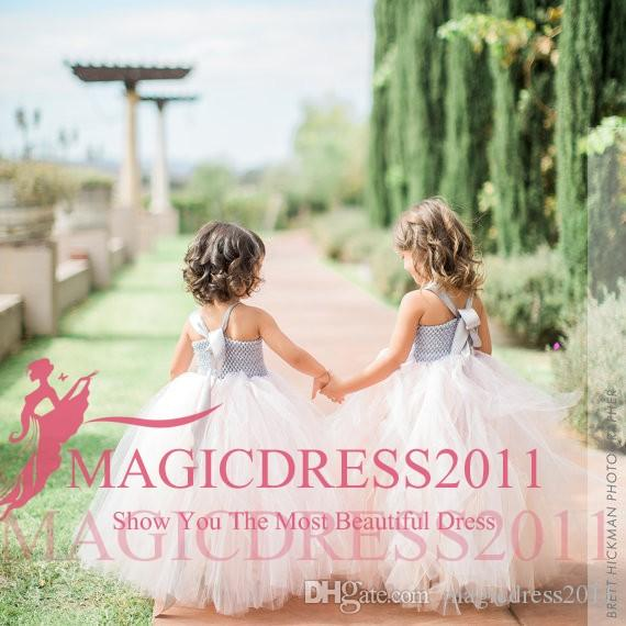 2019 Lovely Princess Pink A-Line Flower Vestiti per ragazze Lace Halter Ruffled Tutu Skirt Floor-Length Wedding Kids Comunione Dress