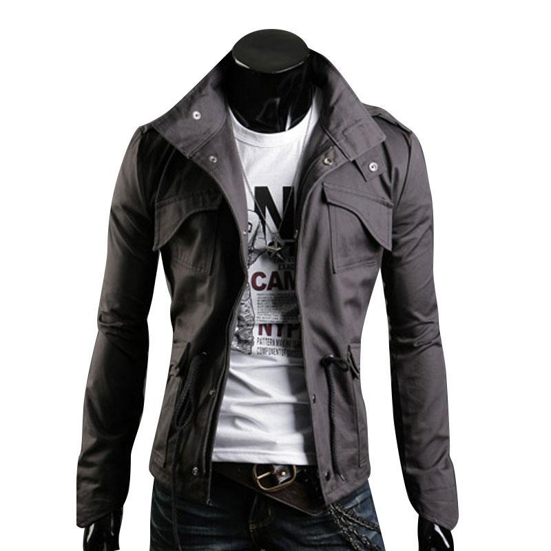 Design Primavera Homens Jaqueta Gola Personalidade Jaquetas Básicas Mens Casual Magro Tipo Casaco Hombre Invierno Pockets Outwears Vestuário