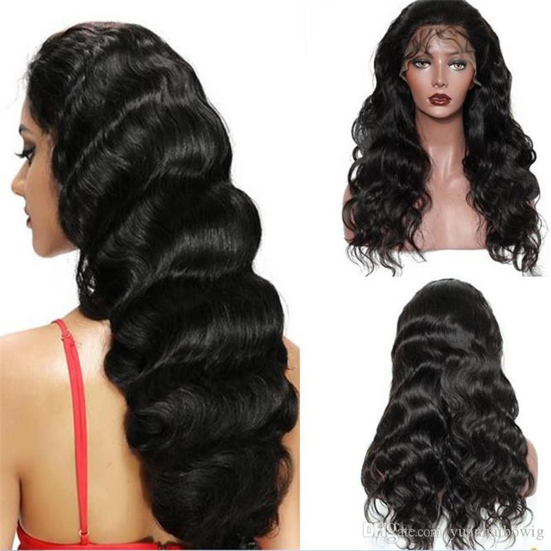 cabelo Stock humano peruca cheia do laço peruca solta onda 10A virgem do cabelo malaio rabo de cavalo alto dianteira do laço peruca frete grátis
