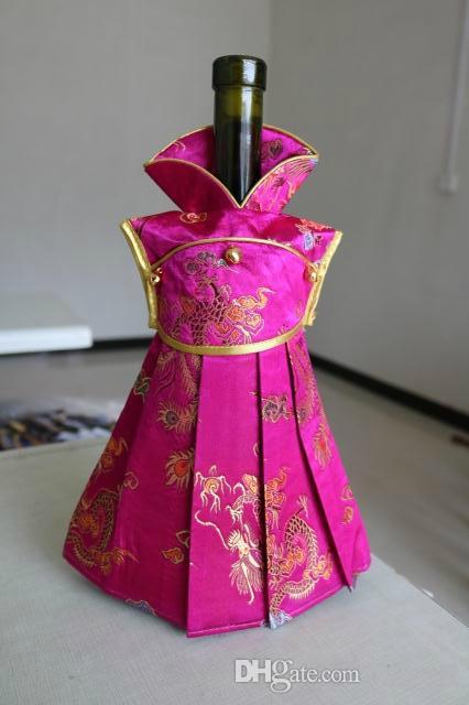 Robe Floral Soie De Noël Bouteille De Vin Couverture Cadeau Sac De Table De Fête De Mariage Décoration Rouge Sac De Vin 750ml Bouteille Emballage 1 pcs