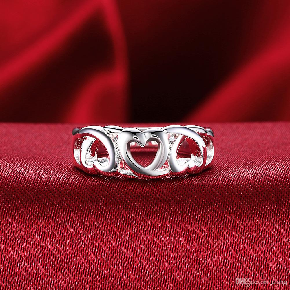 Hot Sales Fashion Women Ring Hollow-Shaped Matching Titanium Steel Ring Charm Beautiful Cute Crystal Stone Wedding Ring Jewelry Size 7 8