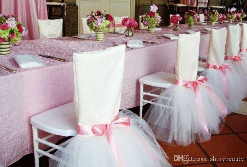 Ribbon Bow Tulle Cute Romantic Beautiful Wedding Decoration Tulle Tiers Wedding Supplies Chair Sash Chair Covers