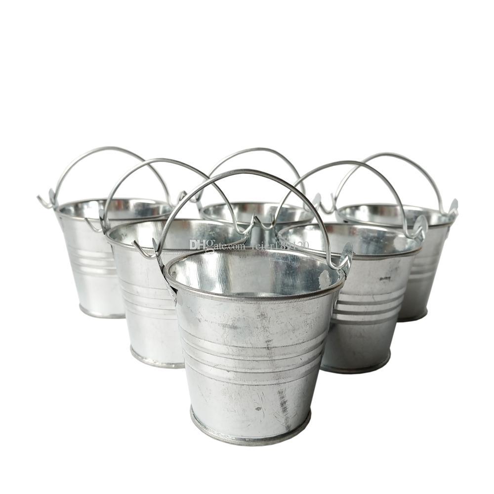 D6 * H5CM a buon mercato Metallo Mini Secchio di latta Secchio di latta Rustico Inclessori Pentole Decorative Galvanized Iron Pots Party Favori