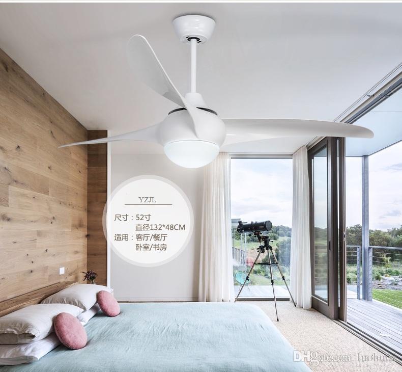 Ceiling pendant fan light living room restaurant pendant Fan Minimalism modern American LED ABS white antique lights fan 52inch