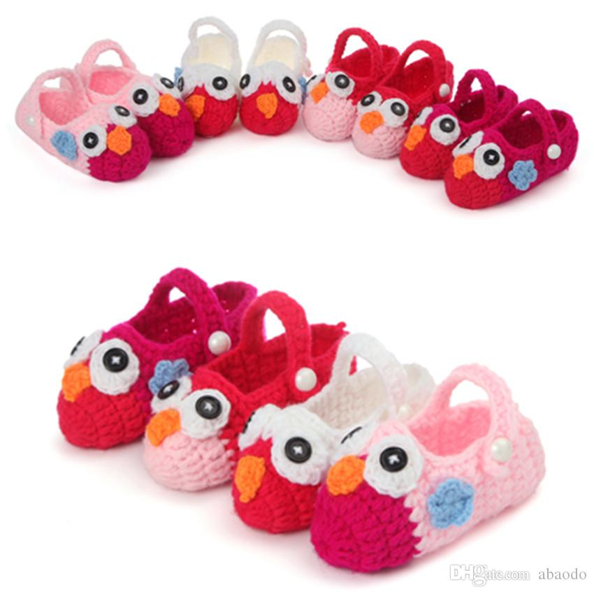 AbaoDo brand new baby shoes owl design new born knitting wool first walkers top quality infants booties crochet handmade socks