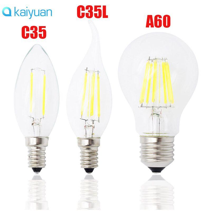 Klassische E27 E14 E12 Dimmbare LED-Glühlampe 4W 8w 12w 16w High Power Glaskugel Birne 110V 220V 240V Retro Edison-Lampe Kerze LED-Leuchten