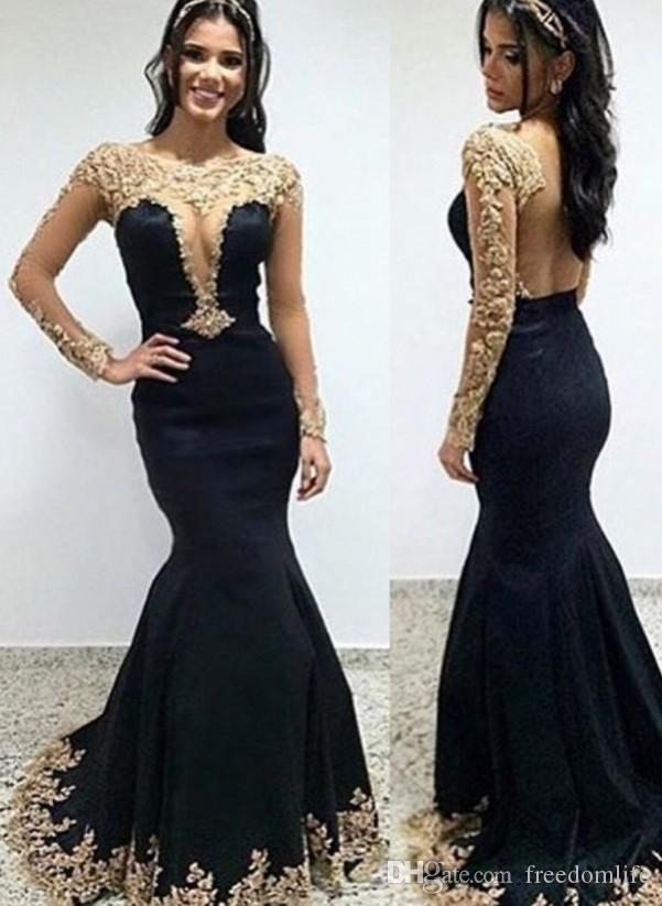 Hot Black Long Sleeve Prom Dresses Mermaid Gold Lace Applique Open Back Evening Dress Plus Size Party Gowns Cheap Prom Dresses Under 100 Debs Prom