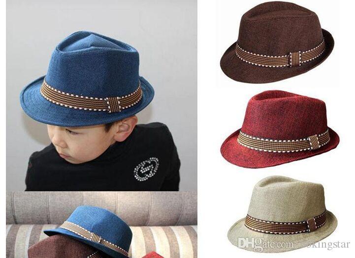 Children/'s and Toddler Boys /& Girls Straw Fedora Hat Free Shipping Kids
