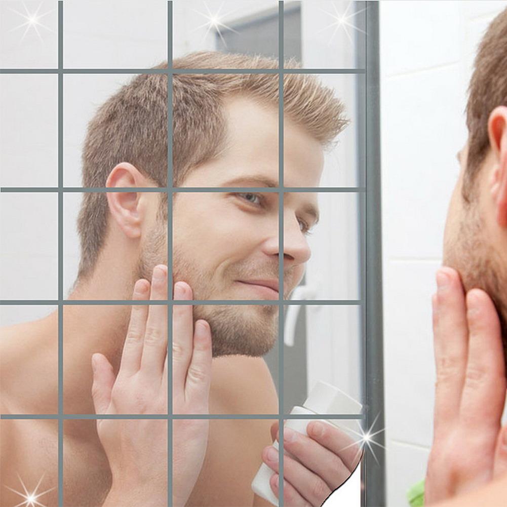 Adhesive Bathroom Mirror Squares Mirror Wall Sticker Tile Silver Kitchen Decorative Self