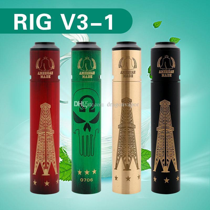 100% Rig V3 Full Starter Kit Rig Com Terk RDA 18650 Bateria Mecânica Mods 4 Cores Avialable DHL Frete Grátis