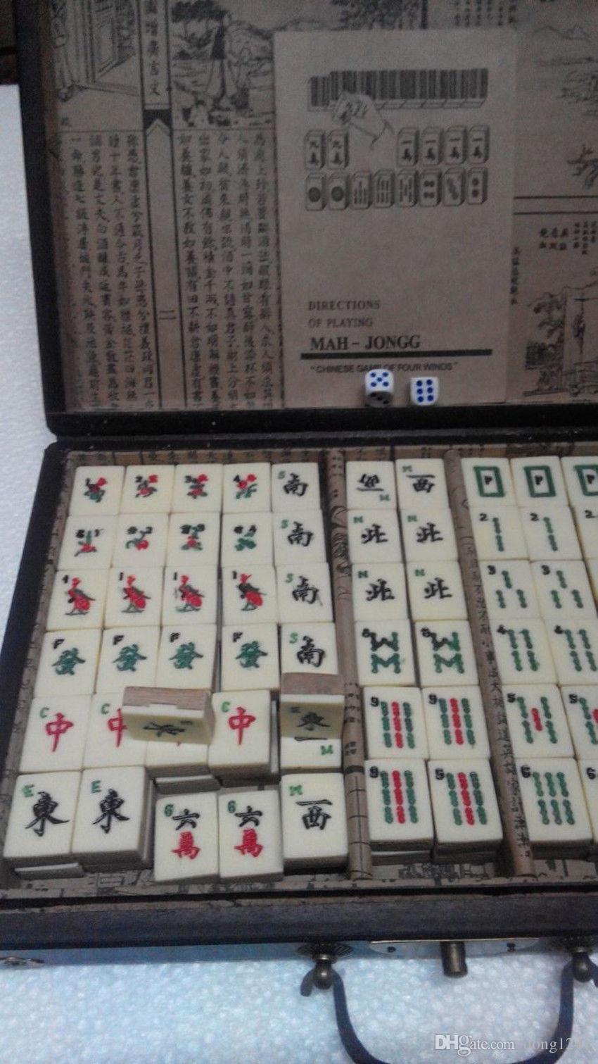 Set Mah-Jong cinese 144 pezzi di bambù con scatola di cuoio
