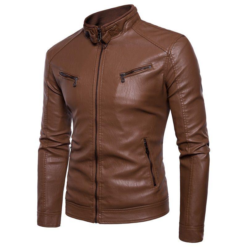 Nouveaux grands chantiers et manteau de cuir de velours mâle Collar au manteau de cuir de moraillon
