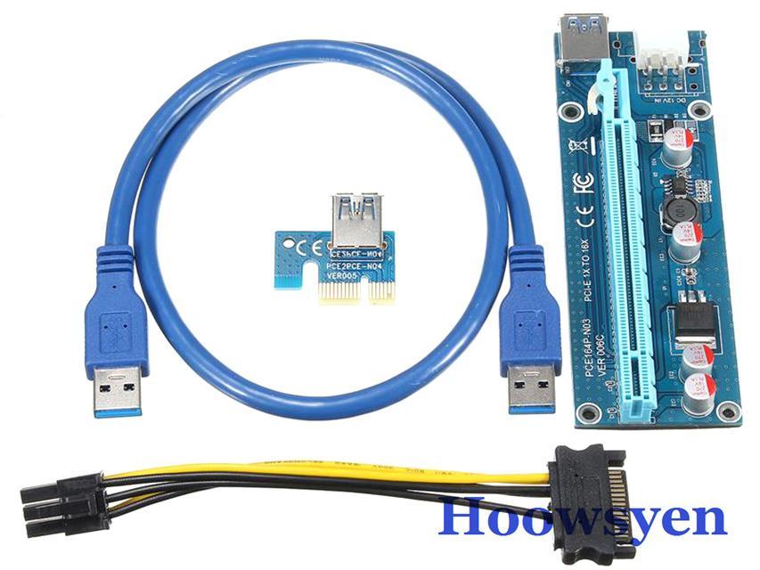 Freeshipping USB 3.0 riser 6pcs PCI-E Express 1X 4x 8x 16x Extender Riser Adapter Card SATA 15pin Male to 6pin Power Cable