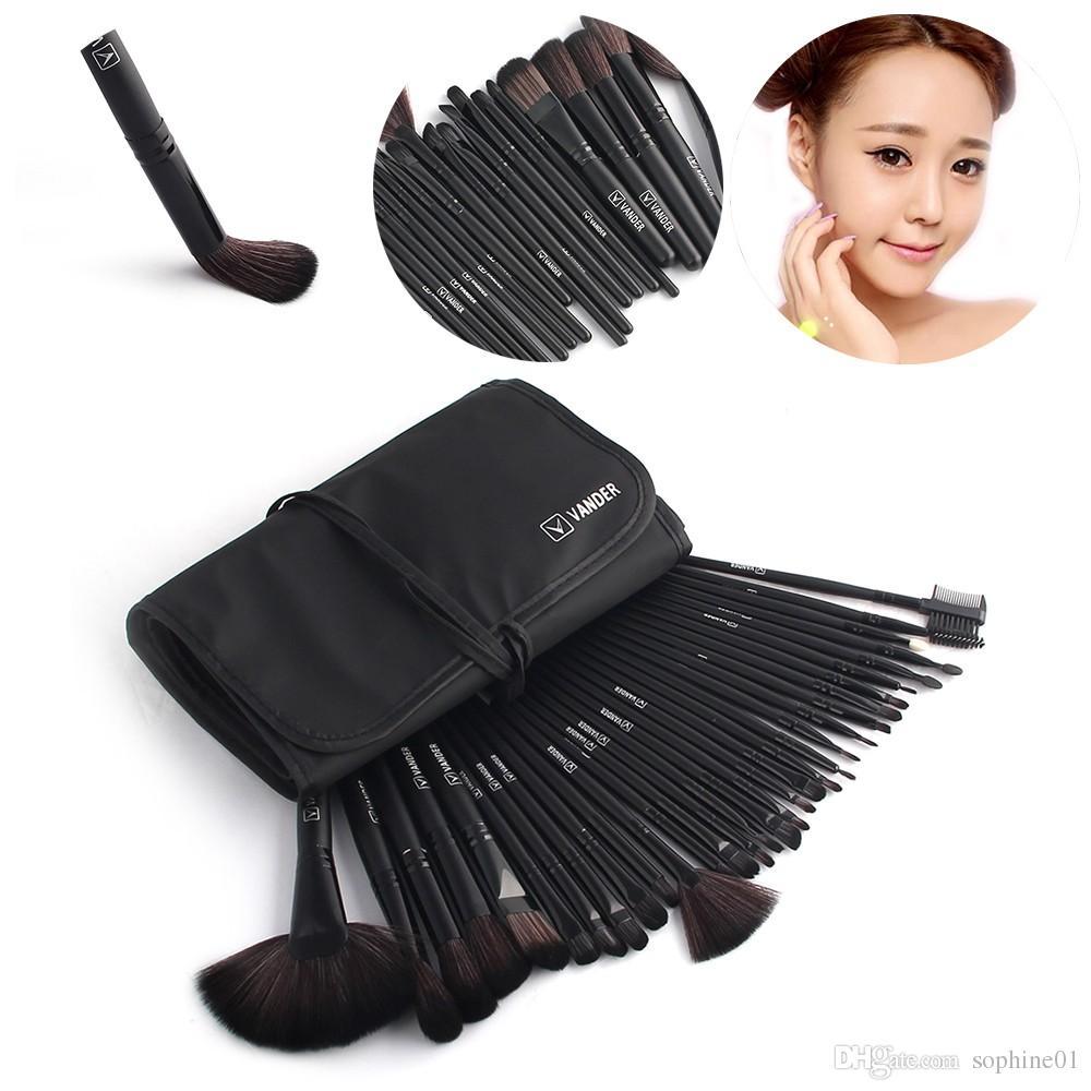 Nero 32 pc spazzole di trucco Fondazione FaceEye professionali Pinceaux cosmetici trucco Brush + Pouch Bag