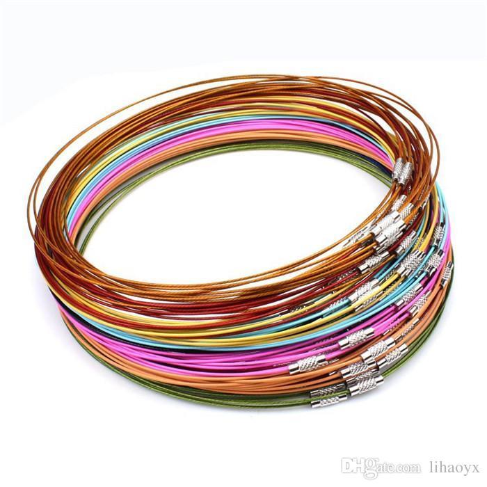 Misto Multi colore Cavo in acciaio inox Collane Collane Catene Gioielli 45 cm Gioielli FAI DA TE Cierres Para Collares B059