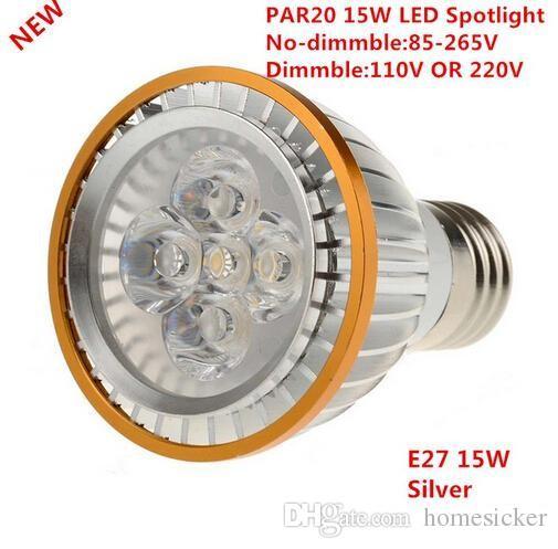 Usine Vente 50 pcs LED PAR20 Ampoules E27 15 W 5 * 3 W Blanc Chaud / Froid Blanc / Blanc 110 V 220 V Dimmable LED PAR 20 P20 Projecteurs Lampes