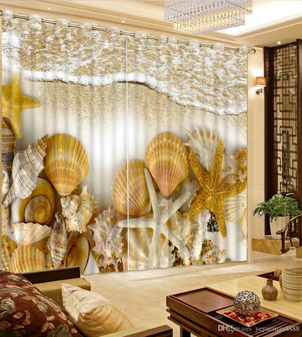 Custom Europea Fashion 3D Tende Foto Bella spiaggia shell wave Curtain 3D tende oscuranti