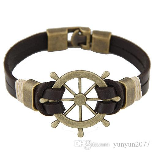 Punk Retro Vintage Concise Jewelry Accessories Anchor Rudder Leather Statement Multilayer Charm Lover Bangles Wristbands Bracelets For Women