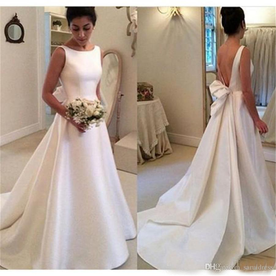 discount bateau neck low cut back a line court train plain satin wedding  gowns fast shipping simple satin wedding dresses wedding dresses for sale