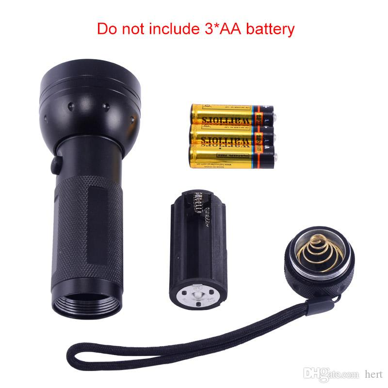 Оптовая новый портативный 51LED UV LED фиолетовый свет черный фонарик алюминиевый корпус 365-410nm контрафактной обнаружены факел лампы освещения для 3xAA