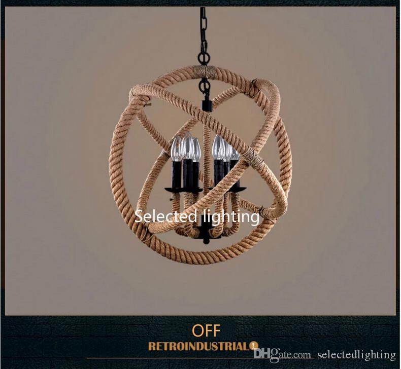 Vintage Rope Pendant Lights ORB RH Chandelier Lighting Dining Room Light Fixtures Home Decorative Luminaire Light Fixtues Lamps
