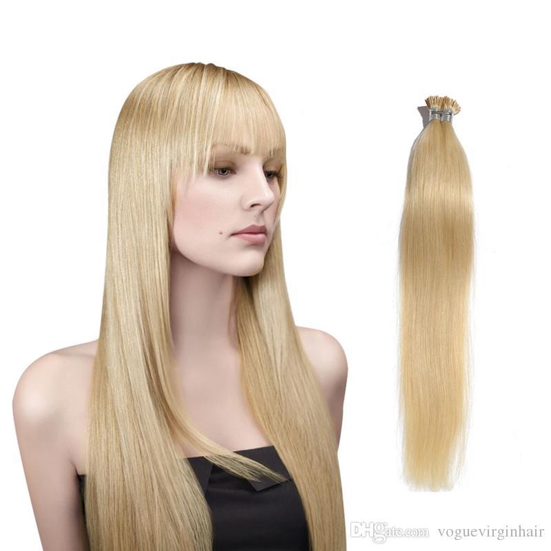 Vogue I-İpucu Sopa İnsan Saç Uzantıları Çok renkli Saç Uzantıları Brezilyalı Ön-bağlı I Ucu Saç Uzantıları 100 Standları